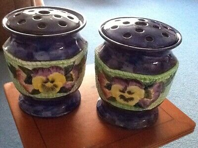 Pair Vintage 1930's Hand painted Pansey and Viola Maling Ware Ringtons Ltd vases