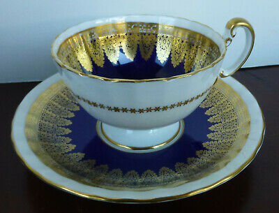 Vintage Aynsley Cup & Saucer Set-Footed Scalloped Edge-Gold Pattern & Trim