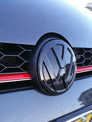 VW Gloss black front gril rear boot badge emblem VOLKSWAGEN GOLF MK7 GTI TSI TDI