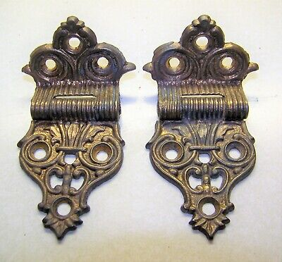 Ornately Detailed Antique Gilded Offset Icebox or Cupboard Hinges
