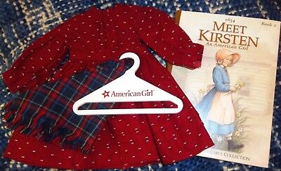 American Girl KIRSTEN Red SCHOOL DRESS, Plaid SHAWL, HANGER, BOOK -4 pieces DOLL