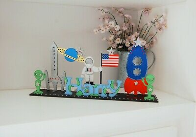 Boys Bedroom Name Sign, Space Theme Decoration, Alien, Personalised, Astronaut
