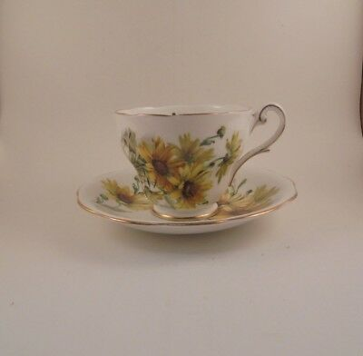 Royal Standard Brown Eyed Susan Footed Tea Cup & Saucer Bone China