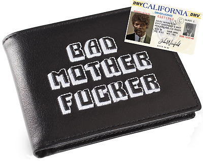 Black & White Embroidered BMF (Bad Mother Fu**er) Leather Wallet With Jules ID