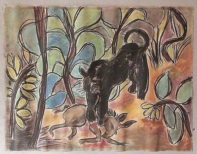 GEORGE COLIN Vintage OUTSIDER ART PAINTING Original BLACK PANTHER MOD JUNGLE
