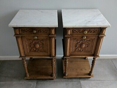 Superb Pair Antique French Oak Bedside Cabinets with Lovely Grey Marble Tops