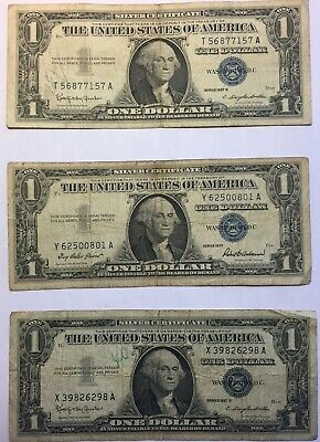 Lot of 6  Dollar  Silver Certificate certificates 2- 1935 and 4- 1957 circulated