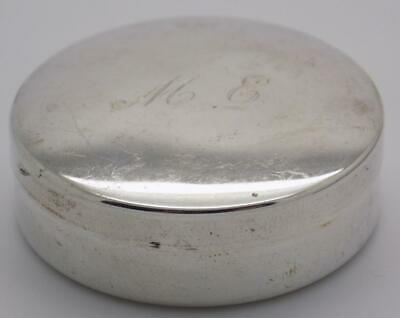 Vintage Sterling Silver 925 Italian Made Engraved Round Pill / Snuff Box, Stamps