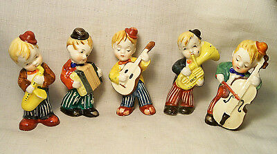 VINTAGE SET OF 5 PIECE CERAMIC MUSICIANS BOY BAND MUSICAL OCCUPIED JAPAN 1940's