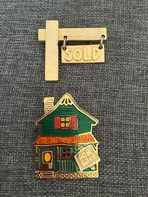 Two Fashion Used  Real Estate Theme Pins For Sale House Sold