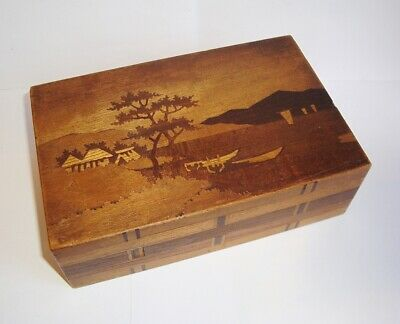 Good Antique Japanese Wooden Inlaid 2 Move Puzzle Box Signed Fukasesei