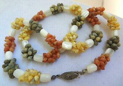 Vintage MOP Dyed Seashells Mother of Pearl Statement Necklace Yellow Green Coral