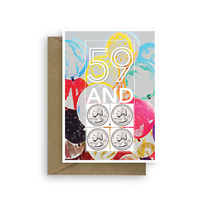 Funny 60th Birthday Card For Him Her 59 And Four Coins 60 Bday