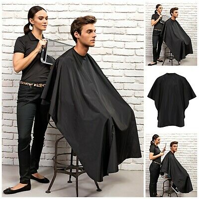 Waterproof Adults Black Hair Salon Hairdressing Barbers Gown Cutting Cape Cover