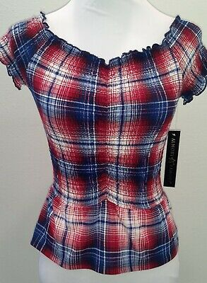 c29651500e35a0 Almost Famous Juniors S Plaid Red White Blue Off the Shoulder Smocked Tube  Top