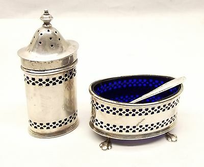 Antique Sterling Silver Cobalt Blue Glass Salt Cellar Pepper Shaker Set Atkinson
