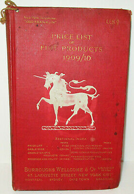 Antique 1909 Burroughs Welcome Pharmacy Price List of Fine Products New York