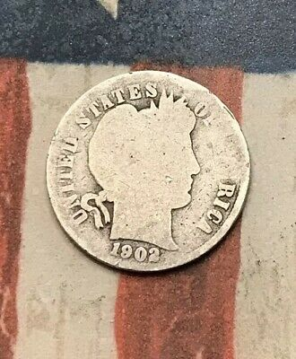 1902 10C Barber Dime 90% Silver Vintage US Coin #SD104