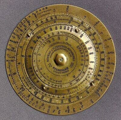 Solid Brass Circular Slide Rule by Schacht & Westerich, for Machinists