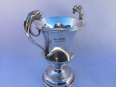 Antique T. Weir & Sons 1933 Sterling Silver Lions Heads Sm. Trophy Cup 96 Grams