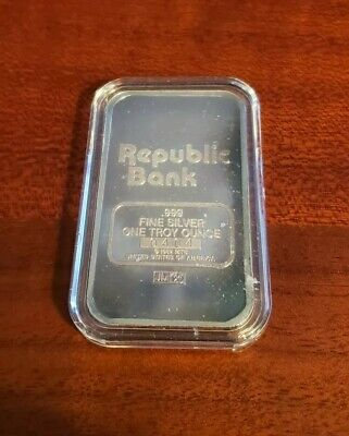 "Johnson Matthey ""Republic Bank"" 1 oz Silver Bar #0404"