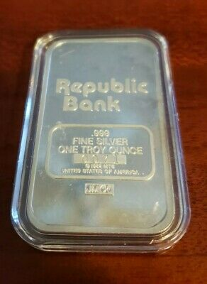 "Johnson Matthey ""Republic Bank"" 1 oz Silver Bar #0071"