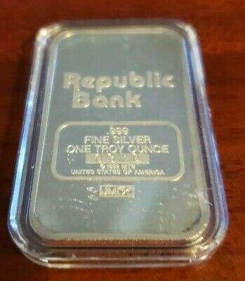 "Johnson Matthey ""Republic Bank"" 1 oz Silver Bar #0370"
