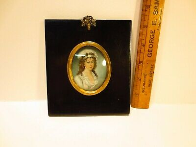 Antique miniature framed oval portrait painting