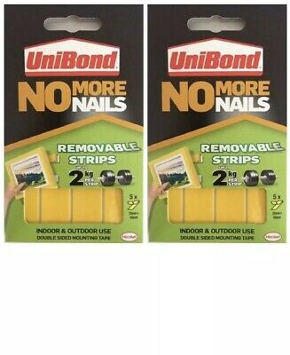 2X Unibond No More Nails Picture Hanging Strips Double Sided Adhesive Fast Post!