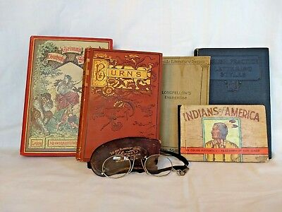 Collection of antique books (1800s & early 1900s) & pince-nez reading glasses