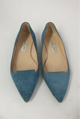 eeadabc21 Jimmy Choo Flats Attila Denim-Effect Suede Pointed Toe Size 40