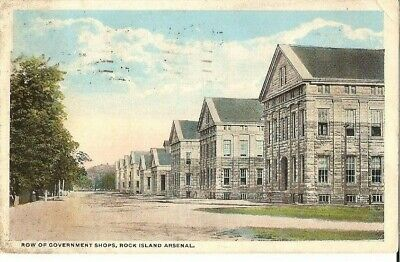 VINTAGE POSTCARD ROCK Island Arsenal Illinois Row of Government Shops
