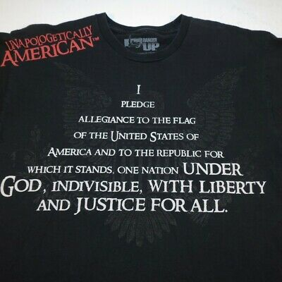 Ranger Up UNAPOLOGETICALLY AMERICAN Pledge of Allegiance FLAG USA T SHIRT Sz L