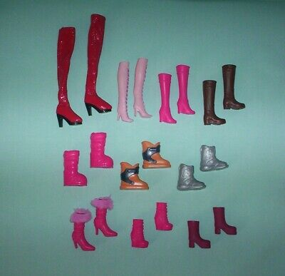 Barbie Doll 10 Pairs of Boots Mixed Lot Shoes Fur Top, Wedge Heels, Astronaut +