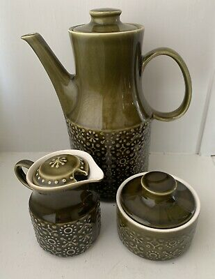 Celtic Connemara Vintage Irish Earthenware Tea/Coffee Pot, Sugar Bowl, Creamer