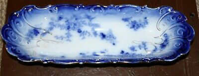 Antique LaBelle China Flow Blue Celery/Bread Serving Dish by Wheeling Pottery