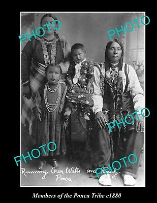 OLD 6 X 4 HISTORIC PHOTO OF AMERICAN INDIAN FAMILY OF THE PONCA TRIBE, c1880