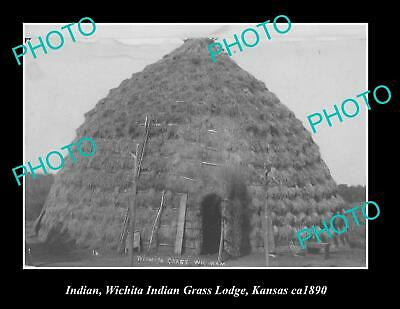 OLD 6 X 4 HISTORIC PHOTO OF WHICITA INDIAN GRASS LODGE, KANSAS AREA c1890