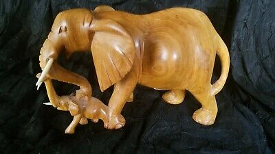 Hand Carved Wood Decorative Elephant Figurine Statue, Mother, Daughter