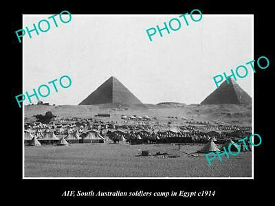 OLD POSTCARD SIZE PHOTO OF SOUTH AUSTRALIAN ANZAC SOLDIERS CAMP EGYPT c1915