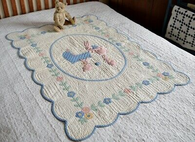 Antique Hand Stitched Appliqued Crib Quilt with Border