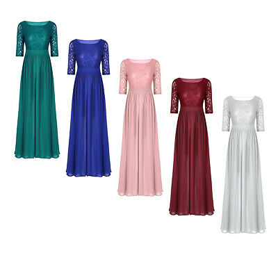 Women Slit Long Dress Cocktail Party Evening Formal Wedding Prom Gown Maxi Dress