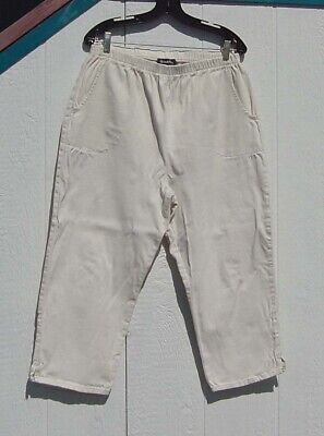 Denim & Co Sz L Beige Capri Pants With Side Pockets