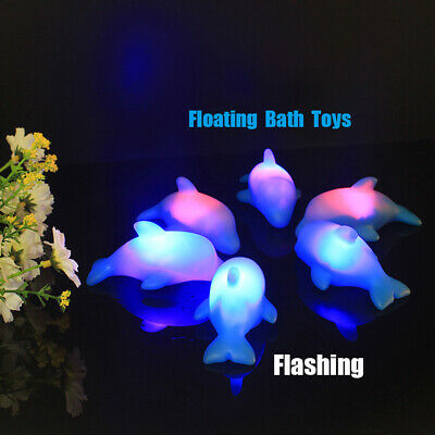 Led Bath Toys Flashing Beach Play Water Floating Dolphins Cartoon Bathroom Lamp