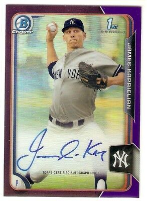 Verzamelkaarten, ruilkaarten 2015 Bowman Draft Chrome Sky Blue Refractor 58 James Kaprielian New York Yankees Verzamelingen