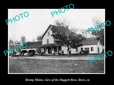 OLD POSTCARD SIZE PHOTO OF STRONG MAINE VIEW OF THE DAGGERT Bros STORE c1900