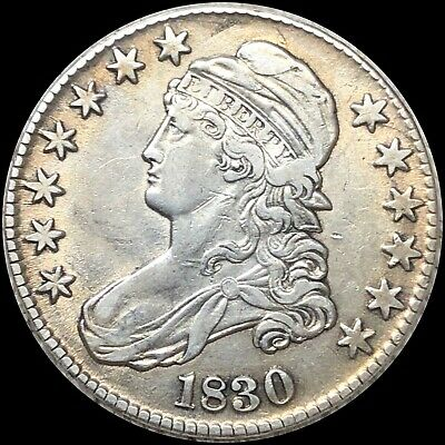1830 Capped Bust HALF Dollar, Beautiful About Uncirculated Coin. Beautiful Piece