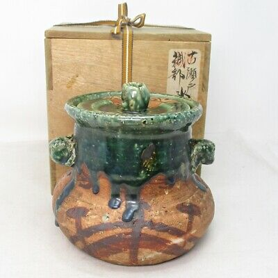 E475: Japanese water jug MIZUSASHI of old ORIBE pottery with tasteful work.