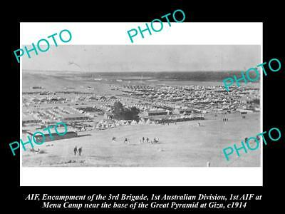 OLD POSTCARD SIZE PHOTO OF WWI AUST ANZAC 1st DIV AT THE MENA CAMP EGYPT c1914