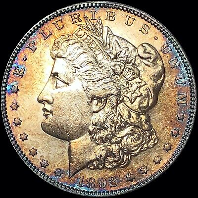 1892-S Morgan Silver Dollar UNCIRCULATED BU Colorful KEY DATE extra collectible!
